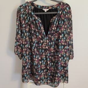 Nanette Lepore♡ Metallic floral V-neck chiffon top